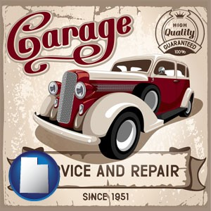 an auto service and repairs garage sign - with Utah icon