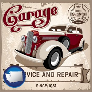 an auto service and repairs garage sign - with Washington icon