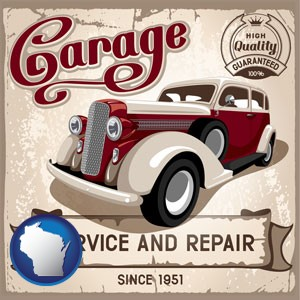 an auto service and repairs garage sign - with Wisconsin icon