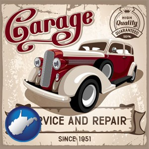 an auto service and repairs garage sign - with West Virginia icon