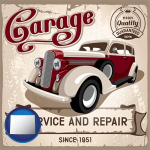 an auto service and repairs garage sign - with Wyoming icon
