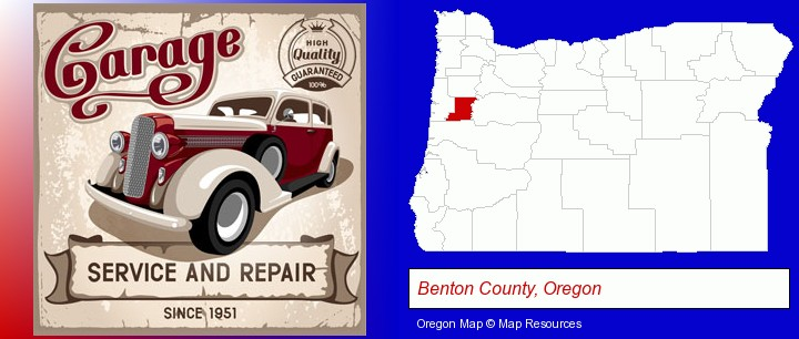 an auto service and repairs garage sign; Benton County, Oregon highlighted in red on a map