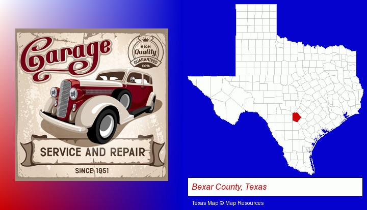 an auto service and repairs garage sign; Bexar County, Texas highlighted in red on a map