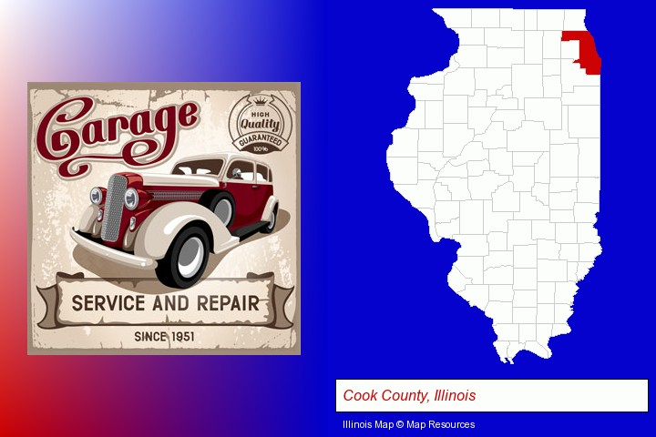 an auto service and repairs garage sign; Cook County, Illinois highlighted in red on a map