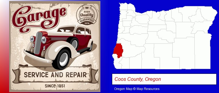 an auto service and repairs garage sign; Coos County, Oregon highlighted in red on a map