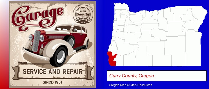 an auto service and repairs garage sign; Curry County, Oregon highlighted in red on a map