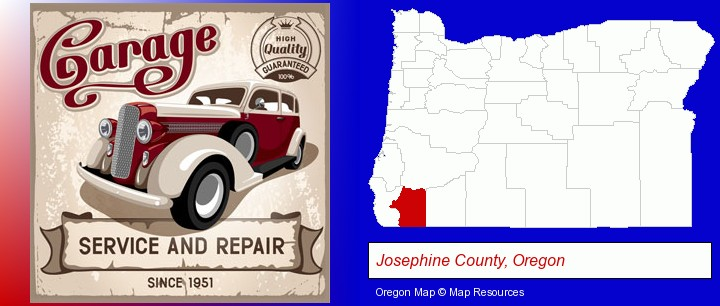 an auto service and repairs garage sign; Josephine County, Oregon highlighted in red on a map
