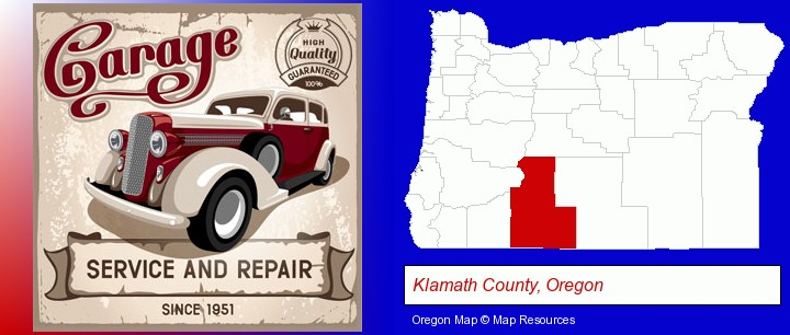 an auto service and repairs garage sign; Klamath County, Oregon highlighted in red on a map