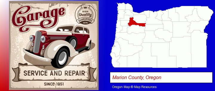 an auto service and repairs garage sign; Marion County, Oregon highlighted in red on a map