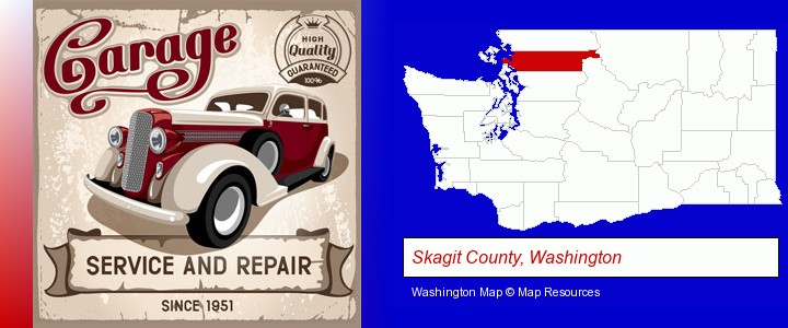 an auto service and repairs garage sign; Skagit County, Washington highlighted in red on a map