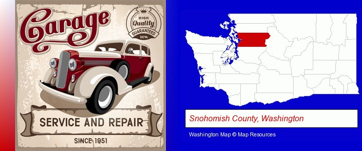 an auto service and repairs garage sign; Snohomish County, Washington highlighted in red on a map