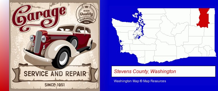 an auto service and repairs garage sign; Stevens County, Washington highlighted in red on a map