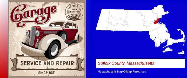 an auto service and repairs garage sign; Suffolk County, Massachusetts highlighted in red on a map
