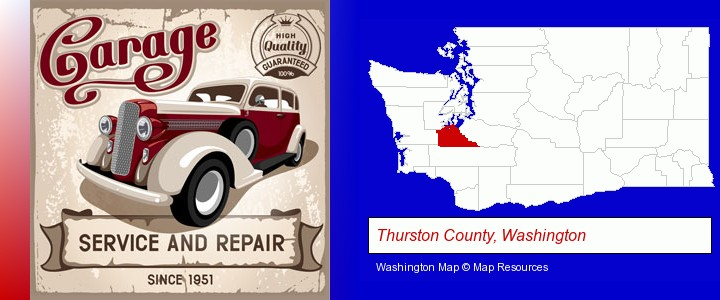 an auto service and repairs garage sign; Thurston County, Washington highlighted in red on a map