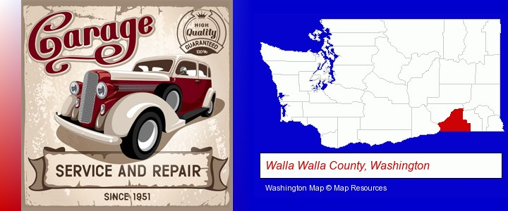 an auto service and repairs garage sign; Walla Walla County, Washington highlighted in red on a map