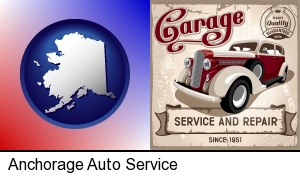 Anchorage, Alaska - an auto service and repairs garage sign