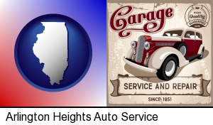 Arlington Heights, Illinois - an auto service and repairs garage sign