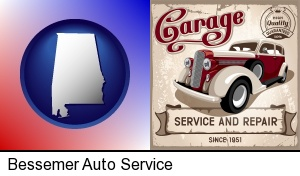 an auto service and repairs garage sign in Bessemer, AL