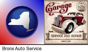 Bronx, New York - an auto service and repairs garage sign
