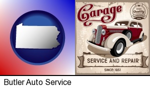 an auto service and repairs garage sign in Butler, PA