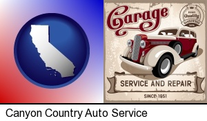 an auto service and repairs garage sign in Canyon Country, CA
