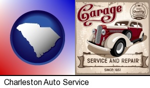 Charleston, South Carolina - an auto service and repairs garage sign