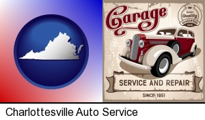 Charlottesville, Virginia - an auto service and repairs garage sign