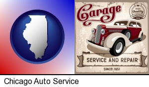an auto service and repairs garage sign in Chicago, IL