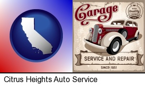 an auto service and repairs garage sign in Citrus Heights, CA