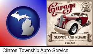 an auto service and repairs garage sign in Clinton Township, MI