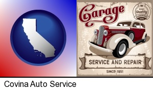 an auto service and repairs garage sign in Covina, CA