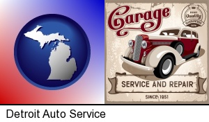 an auto service and repairs garage sign in Detroit, MI