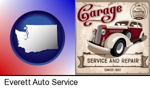 Everett, Washington - an auto service and repairs garage sign