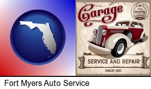 Fort Myers, Florida - an auto service and repairs garage sign