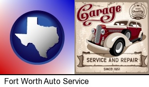 Fort Worth, Texas - an auto service and repairs garage sign