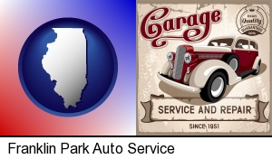 Franklin Park, Illinois - an auto service and repairs garage sign