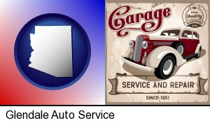 Glendale, Arizona - an auto service and repairs garage sign
