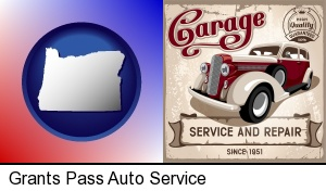 Grants Pass, Oregon - an auto service and repairs garage sign