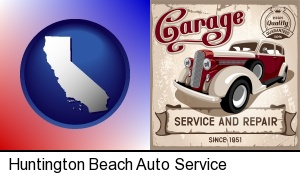 an auto service and repairs garage sign in Huntington Beach, CA