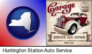 an auto service and repairs garage sign in Huntington Station, NY