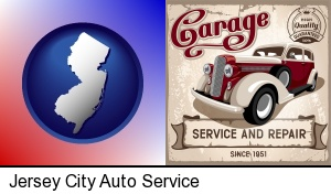 an auto service and repairs garage sign in Jersey City, NJ