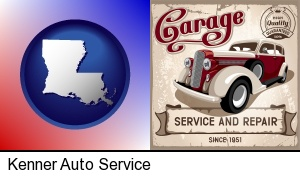 Kenner, Louisiana - an auto service and repairs garage sign