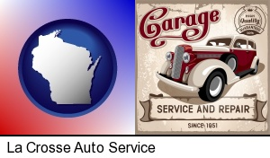 La Crosse, Wisconsin - an auto service and repairs garage sign
