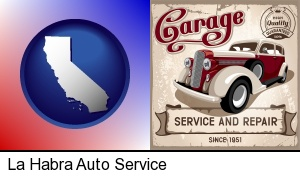 an auto service and repairs garage sign in La Habra, CA