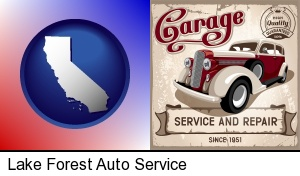 Lake Forest, California - an auto service and repairs garage sign