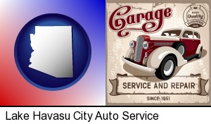 an auto service and repairs garage sign in Lake Havasu City, AZ