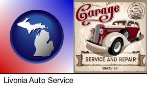 an auto service and repairs garage sign in Livonia, MI