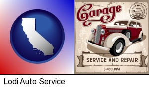 an auto service and repairs garage sign in Lodi, CA
