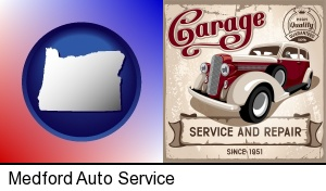 Medford, Oregon - an auto service and repairs garage sign
