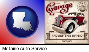 Metairie, Louisiana - an auto service and repairs garage sign